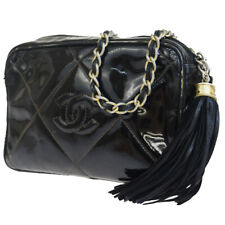 Authentic CHANEL CC Logo Fringe Chain Shoulder Bag Patent Leather Black 85EQ700