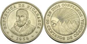 elf Nicaragua 50 Centavos 1954   Mountains Sunrise