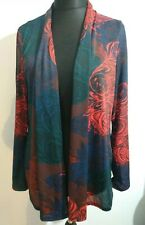 FIORELLA RUBINO Draped Red Teal Blue Cardigan Thin NWT long sleeves Size Large