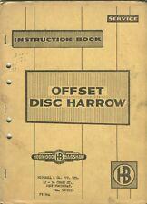 Horwood Bagshaw Offset Disc Harrow Rake instruction book