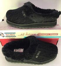 New Bobs Sketchers Winter Women Memory Foam Line Faux Fur Black Cable Knit 5