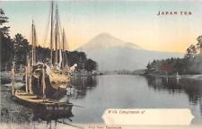 FUJI FROM TAGONOURA SHIPS JAPAN TEA ADVERTISING POSTCARD (c. 1910)