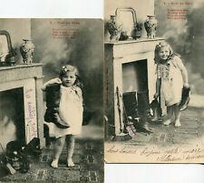 LOT 2 cartes mignonne et souriante fillette au pied cheminée pour Noël de Bébé