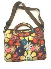 Neoprene Laptop Tablet Bag Case Flowers w/Handle & Shoulder Straps