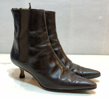 Manolo Blahnik Brown Leather Career Stiletto Ankle Booties Boots Pull On Size 37