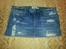 Abercrombie & Fitch Denim Skirt sz 0 Destroyed Distressed Jeans Mini Skirt
