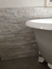 quartzite white and grey splitface mosaic tiles