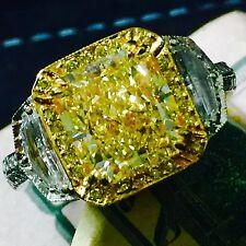 7.58 CARAT VS FANCY YELLOW RADIANT DIAMOND HALO ENGAGEMENT RING 18K/PLATINUM