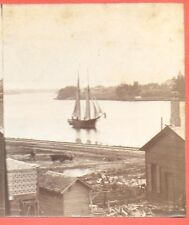 Thomas R Bowring Sr Stereoview of Sailboat on Fox River De Pere Wisconsin 1885
