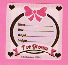 15 I've Grown Pink Large Stickers - Height and Weight - Rewards