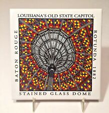 Louisiana State Capitol Stained Glass Dome Souvenir Tile Trivet Baton Rouge