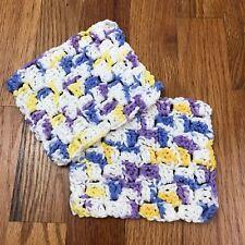 2 Cotton Handmade Crochet Dishcloth Patchwork Color Block 100% Cotton Gift AL