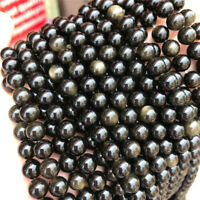 Natural Gold Obsidian Loose Beads Making Jewelry 15 inches Gemstone Strand Craft