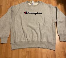 New Champion Reverse Weave Sweatshirt Crewneck Gray Spell Out Size XXL
