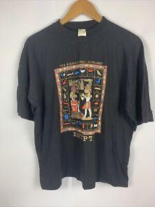 Vintage 90 Hieroglyphic Alphabet Egypt T-Shirt Mens Sz Large Black Pharaoh