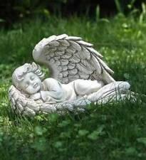 New! SLEEPING BABY ANGEL WINGS FIGURINE Memorial Garden Statue / DURABLE RESIN