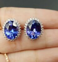 4Ct Oval Cut Blue Tanzanite & Diamond Ladies Stud Earrings 14k White Gold Finish