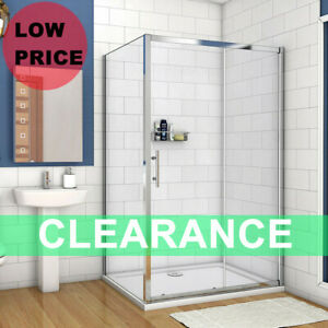Bathroom Sliding Door Shower Enclosure Side Panel and Tray 6mm Glass Cubicle B8