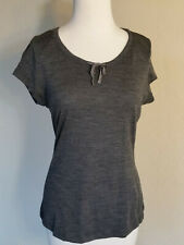 Ibex merino T shirt, tie neck, S, charcoal heather