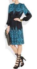Jonathan Saunders Dress Blue Black Silk Print Dress Long Sleeve Uk 10 FR 38 New
