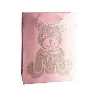 New Baby Girl Gift Bags Pink Glittery Teddy Bear Small Medium Large Birthday