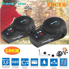 500m Freedconn Intercom Motorcycle Bluetooth Headset Helmet Interphone FM 3Rider
