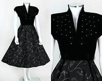 VTG 1950's BLACK VELVET FLORAL TAFFETA RHINESTONE COCKTAIL PARTY DRESS SZ S