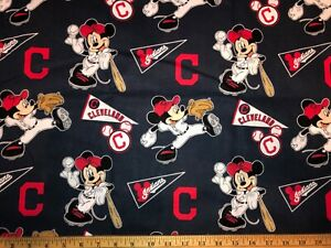 NEW MLB COTTON Fabric 1/4 yard=9inX44in CLEVELAND INDIANS MICKEY MOUSE DIY MASK