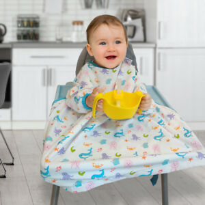 Baby Bibs With Full Long Sleeve Baby Toddler Weaning Feeding Apron Smock BB274