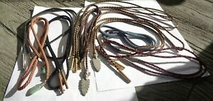 Lot of 10 Vintage Men's SouthWestern Jeweled Bolo Ties. Agates & CORDS