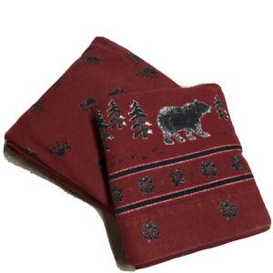 Woolrich Flannel Sheet Set Twin Flat Fitted 100% Cotton Bear Rustic Cabin Heavy