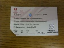 15/09/2011 Ticket: FC Dynamo Kyiv v Stoke City [UEFA Europa League] (corner trim