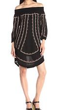 $295 ANTHROPOLOGIE CYNTHIA VINCENT BLACK EMBROIDERED OFF SHOULDER PETAL DRESS 4