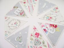 Clarke & Clarke Fabric Personalised Bunting Banner Priced per flag. Grey Pink