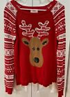 Justice ugly cute Christmas Reindeer Fair Isle Red/White Sweater Girl's Size 16