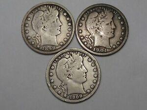 2 Fine US Barber Quarters: 1898, 1901 & 1908-d.  #145