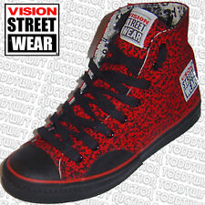 VISION STREET WEAR '80s Skateboard Shoes Red Stipple Hi Tops 8 UK / 9 USA