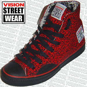 VISION STREET WEAR '80s Skateboard Shoes Red Stipple Hi Tops 8 UK / 9 USA