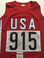Autographed/Signed CARL LEWIS USA Track Olympics 9x Gold Jersey JSA COA Auto