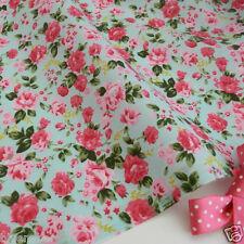 "per metre Cottage rose aqua & pink polycotton fabric width 44"""
