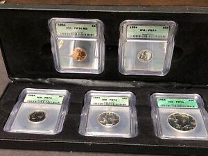 1964 Proof Set ICG Graded PR70 In Case Half Dollar Quarter Dime Nickel Penny