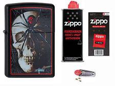 Zippo Mazzi Skull Spider + Starter Pack mit Benzin,Docht + Feuersteine Neu