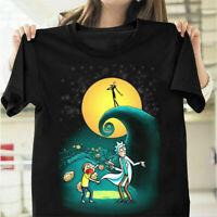 Rick and Morty Jack Skellington Portal Nightmare Before Christmas T Shirt Black