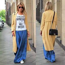 ZARA Pastel Yellow Cotton Blend Long Coat with Lapels M BNWT  REF 7491 485