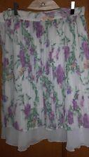 Gonna chiffon 42 bianca a fiori lilla verde elegante a pieghe plisse'