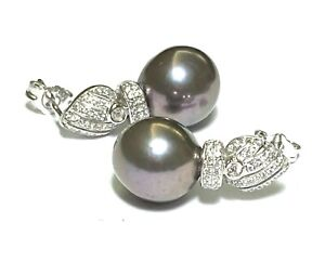 Gorgeous Mirror Luster Edison Cultured Purple Grey Round 11mm Pearl Earrings