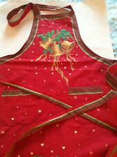 Handcrafted Holiday Christmas Bells & Holly Apron with Pockets