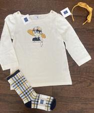 NWT Janie and Jack Girls 6 6Y Outfit Hat Girl Tee Socks Headband Yellow Plaid