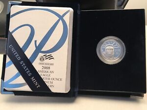 2008 W 1/4 oz $25 Proof Platinum American Eagle in Original Mint Box + COA
