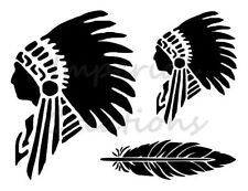 """""""INDIAN CHIEF"""" Native American Feather 8.5"""" x 11"""" Stencil Plastic Sheet NEW S46"""